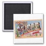 Retro Vintage Kitsch Postcard Las Vegas Nevada Square Magnet