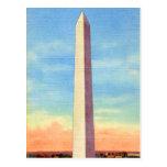 Retro Vintage Kitsch Postcard Washington Monument