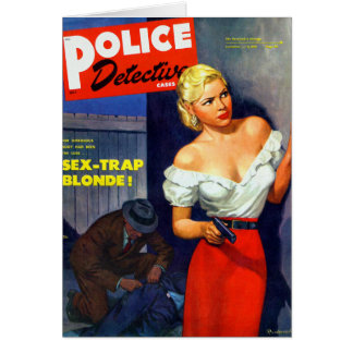 Retro Vintage Kitsch Pulp Women Police Detective Greeting Card