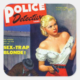 Retro Vintage Kitsch Pulp Women Police Detective Square Sticker