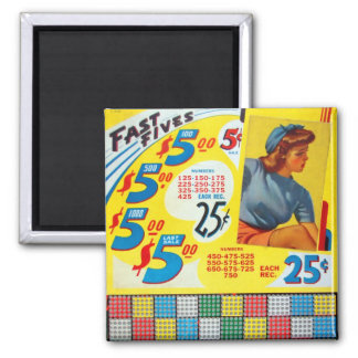 Retro Vintage Kitsch Punch board Gamble Fast Fives Fridge Magnet
