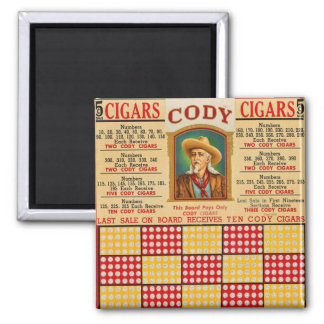 Retro Vintage Kitsch Punchboard Gambling Wild Bill Square Magnet