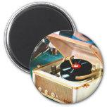 Retro Vintage Kitsch Rock & Roll Record Turntable 6 Cm Round Magnet