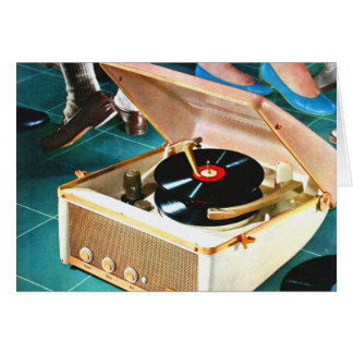 Retro Vintage Kitsch Rock & Roll Record Turntable Greeting Card