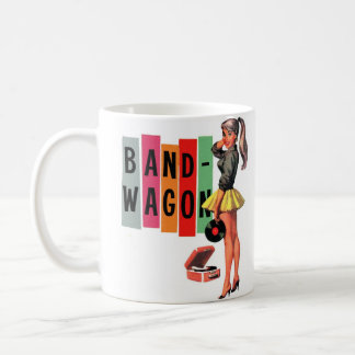 Retro Vintage Kitsch Rockabilly Girl Band Wagon Basic White Mug