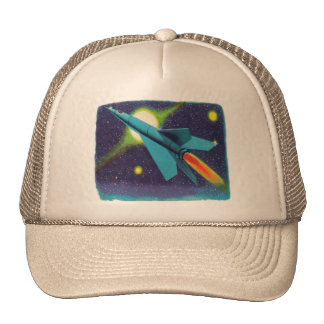 Retro Vintage Kitsch Rocket to Outer Space Cap