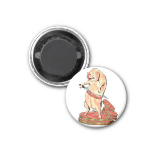 Retro Vintage Kitsch Sausage Hara Kari Hog Oui oui 3 Cm Round Magnet
