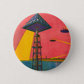 Retro Vintage Kitsch Sci Fi Canals of Mars 6 Cm Round Badge