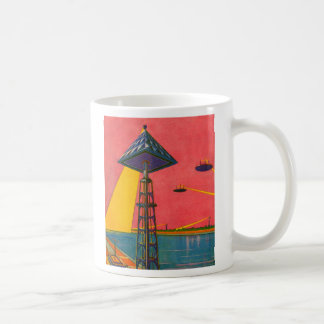 Retro Vintage Kitsch Sci Fi Canals of Mars Basic White Mug