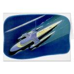 Retro Vintage Kitsch Sci Fi Future Ocean Liner Greeting Card
