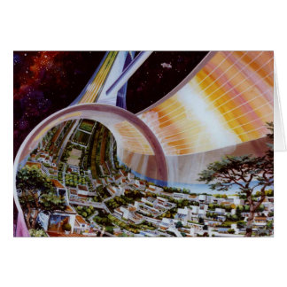 Retro Vintage Kitsch Sci Fi Future Space Colonies Greeting Card