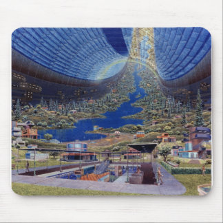 Retro Vintage Kitsch Sci Fi Future Space Colonies Mouse Mat