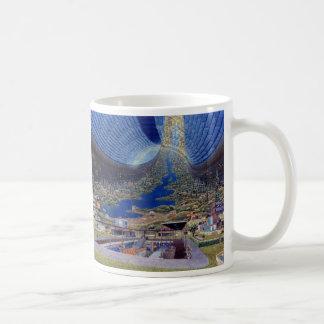Retro Vintage Kitsch Sci Fi Future Space Colonies Classic White Coffee Mug