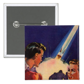 Retro Vintage Kitsch Sci Fi Rocket Blast Off Boys 15 Cm Square Badge