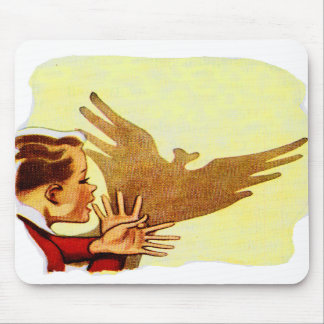 Retro Vintage Kitsch Science Shadow Puppets Boy Mouse Pad