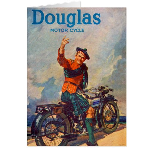 Retro Vintage Kitsch Scot Douglas Motorcycle Ad Greeting Card