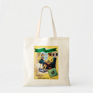 Retro Vintage Kitsch Sewing Needlepoint Needlework Tote Bag