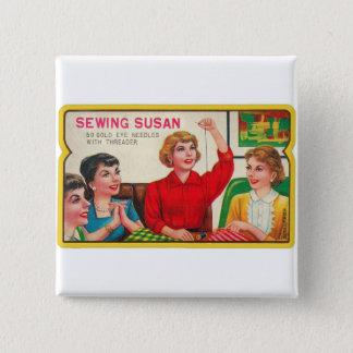 Retro Vintage Kitsch Sewing Susan Needles Book 15 Cm Square Badge