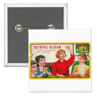 Retro Vintage Kitsch Sewing Susan Needles Book 15 Cm Square Badge