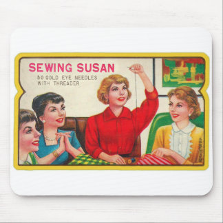 Retro Vintage Kitsch Sewing Susan Needles Book Mouse Pad