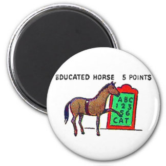 Retro Vintage Kitsch Sideshow 'Educated Horse' 6 Cm Round Magnet