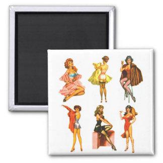 Retro Vintage Kitsch Six Pin Up Pinup Girls Fridge Magnets