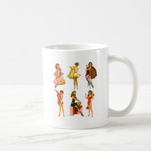 Retro Vintage Kitsch Six Pin Up Pinup Girls Coffee Mug