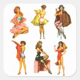 Retro Vintage Kitsch Six Pin Up Pinup Girls Square Sticker