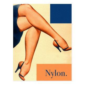 Retro Vintage Kitsch Stockings Nylons Nylon Art Postcard