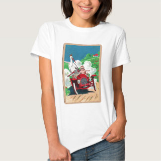 Retro Vintage Kitsch Stork Delivers Baby in Jalopy Tee Shirts