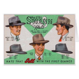 Retro Vintage Kitsch Swann Mens Hats Fedora Card