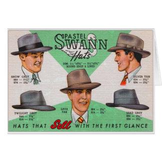 Retro Vintage Kitsch Swann Mens Hats Fedora Greeting Card