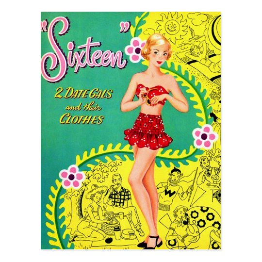 Retro Vintage Kitsch Teen Girl Sweet Sixteen Book Postcard