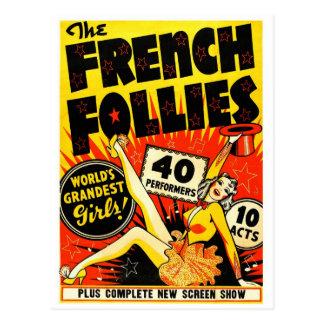 Retro Vintage Kitsch The French Follies Girls Postcard