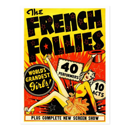 Retro Vintage Kitsch The French Follies Girls Postcards