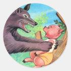 Retro Vintage Kitsch Three Little Pigs & Wolf Classic Round Sticker