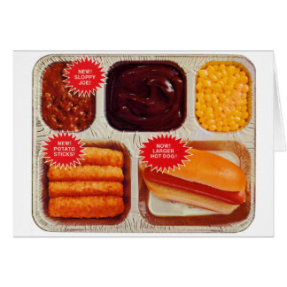 Retro Vintage Kitsch TV Dinner Now Bigger Hot Dog Card