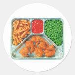 Retro Vintage Kitsch TV Dinner 'Shrimp' Round Sticker