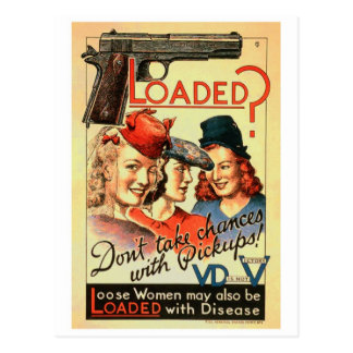 Retro Vintage Kitsch VD Propaganda 'Loaded' Postcard