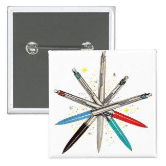Retro Vintage Kitsch Wheel of Ballpoint Pens 15 Cm Square Badge