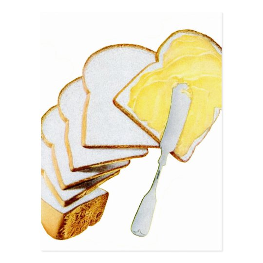 Retro Vintage Kitsch White Bread and Butter Postcard