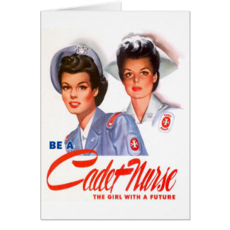 Retro Vintage Kitsch WW2 Cadet Nurse Card