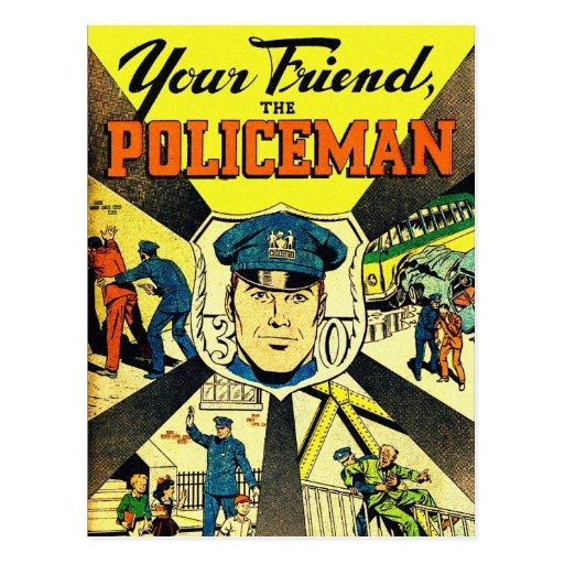 Retro Vintage Kitsch Your Friend The Policeman Postcards