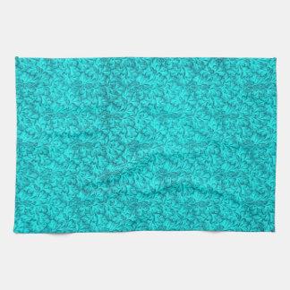 Retro Vintage Lace Leaf Teal Kitchen Towels