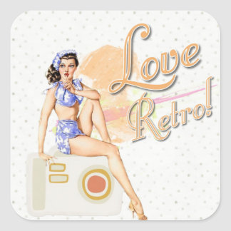 Retro Vintage Lady  Stickers