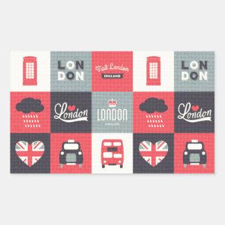 retro,vintage,London,UK,collage,twill,red,black Rectangular Sticker