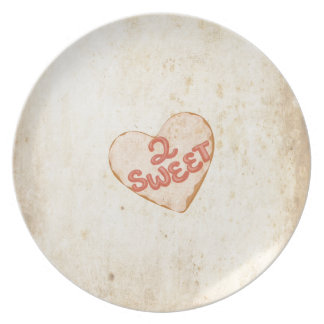 Retro Vintage Love 2 Sweet Heart Old Antique Paper Plate