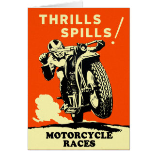 Retro Vintage Motorcycles Races Thrills Spills Greeting Card