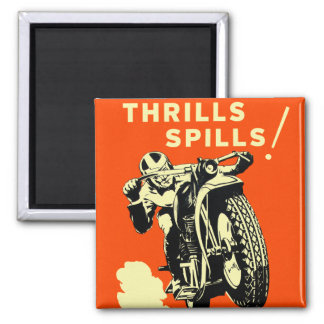 Retro Vintage Motorcycles Races Thrills Spills Square Magnet