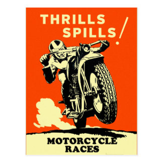 Retro Vintage Motorcycles Races Thrills Spills Postcard